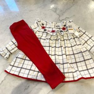 3T NWT holiday long flutter sleeve 2-piece set
